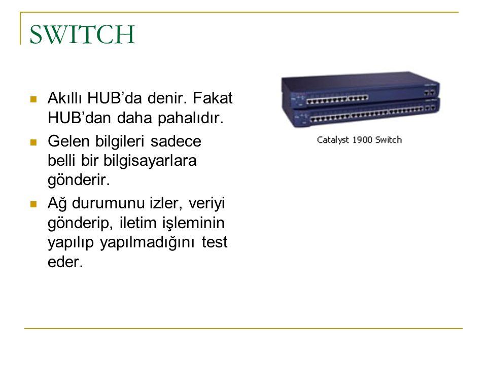 SWITCH Akıllı HUB'da denir. Fakat HUB'dan daha pahalıdır.