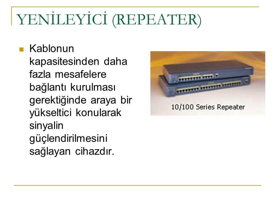 YENİLEYİCİ (REPEATER) Kablonun kapasitesinden daha fazla mesafelere bağlantı kurulması gerektiğinde araya bir yükseltici konularak sinyalin güçlendirilmesini sağlayan cihazdır.