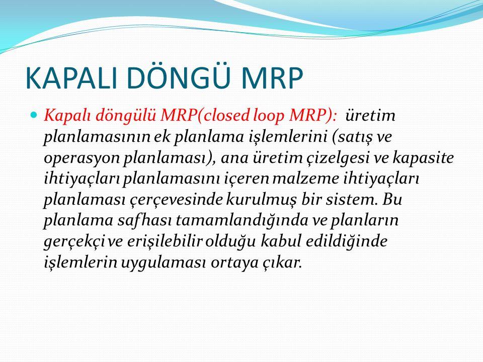 KAPALI DÖNGÜ MRP Kapalı döngülü MRP(closed loop MRP): üretim planlamasının ek planlama işlemlerini (satış ve operasyon planlaması), ana üretim çizelgesi ve kapasite ihtiyaçları planlamasını içeren malzeme ihtiyaçları planlaması çerçevesinde kurulmuş bir sistem.