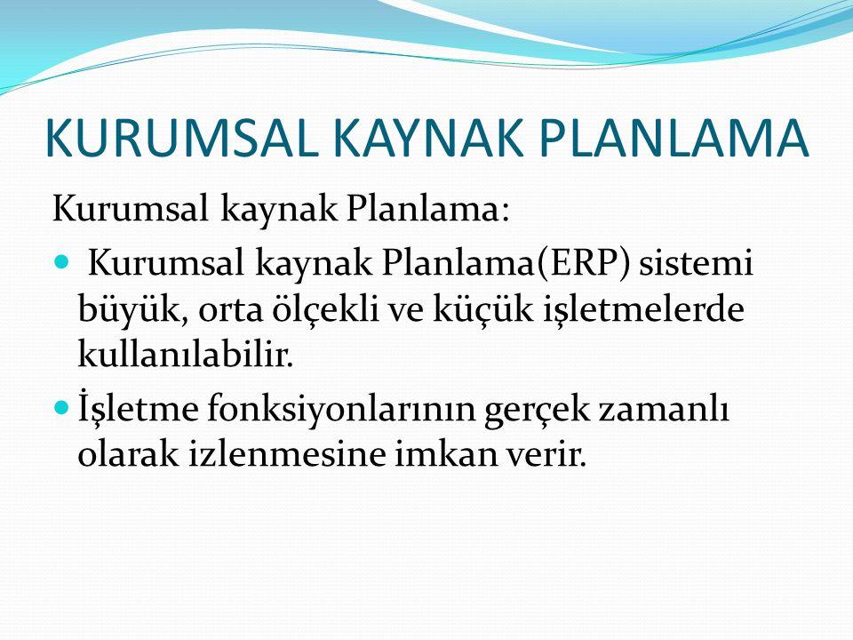 KURUMSAL KAYNAK PLANLAMA Kurumsal kaynak Planlama: Kurumsal kaynak Planlama(ERP) sistemi büyük, orta ölçekli ve küçük işletmelerde kullanılabilir.