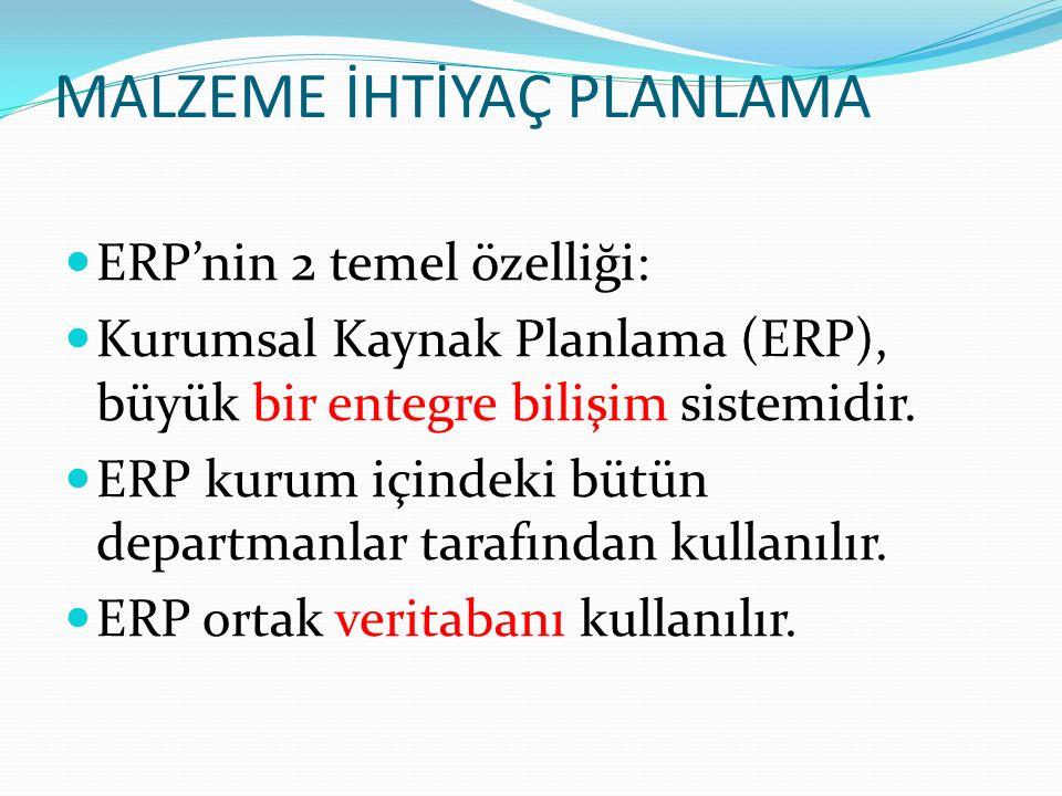 MALZEME İHTİYAÇ PLANLAMA ERP'nin 2 temel özelliği: Kurumsal Kaynak Planlama (ERP), büyük bir entegre bilişim sistemidir.