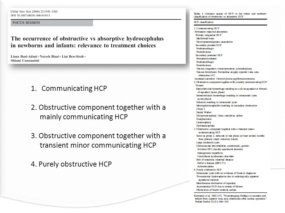 1.Communicating HCP 2. Obstructive component together with a mainly communicating HCP 3. Obstructive component together with a transient minor communi