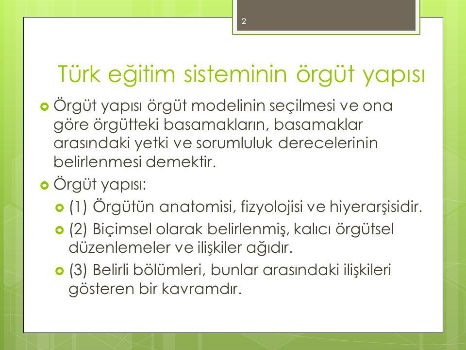 Türk eğitim sisteminin örgüt yapısı  Örgüt yapısı örgüt modelinin seçilmesi ve ona göre örgütteki basamakların, basamaklar arasındaki yetki ve soruml
