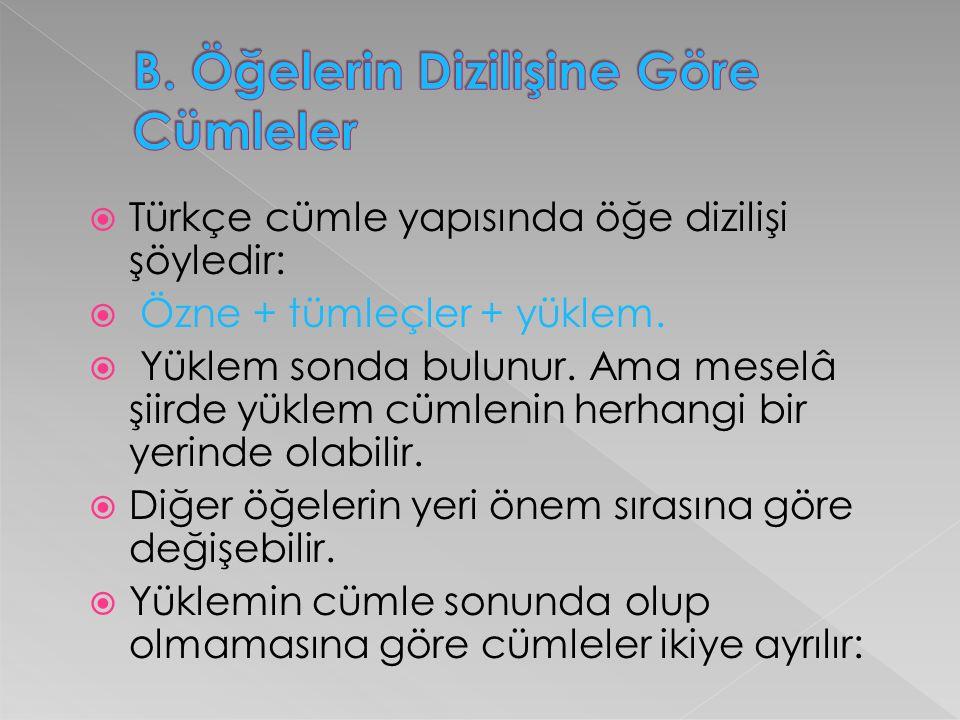  Türkçe cümle yapısında öğe dizilişi şöyledir:  Özne + tümleçler + yüklem.