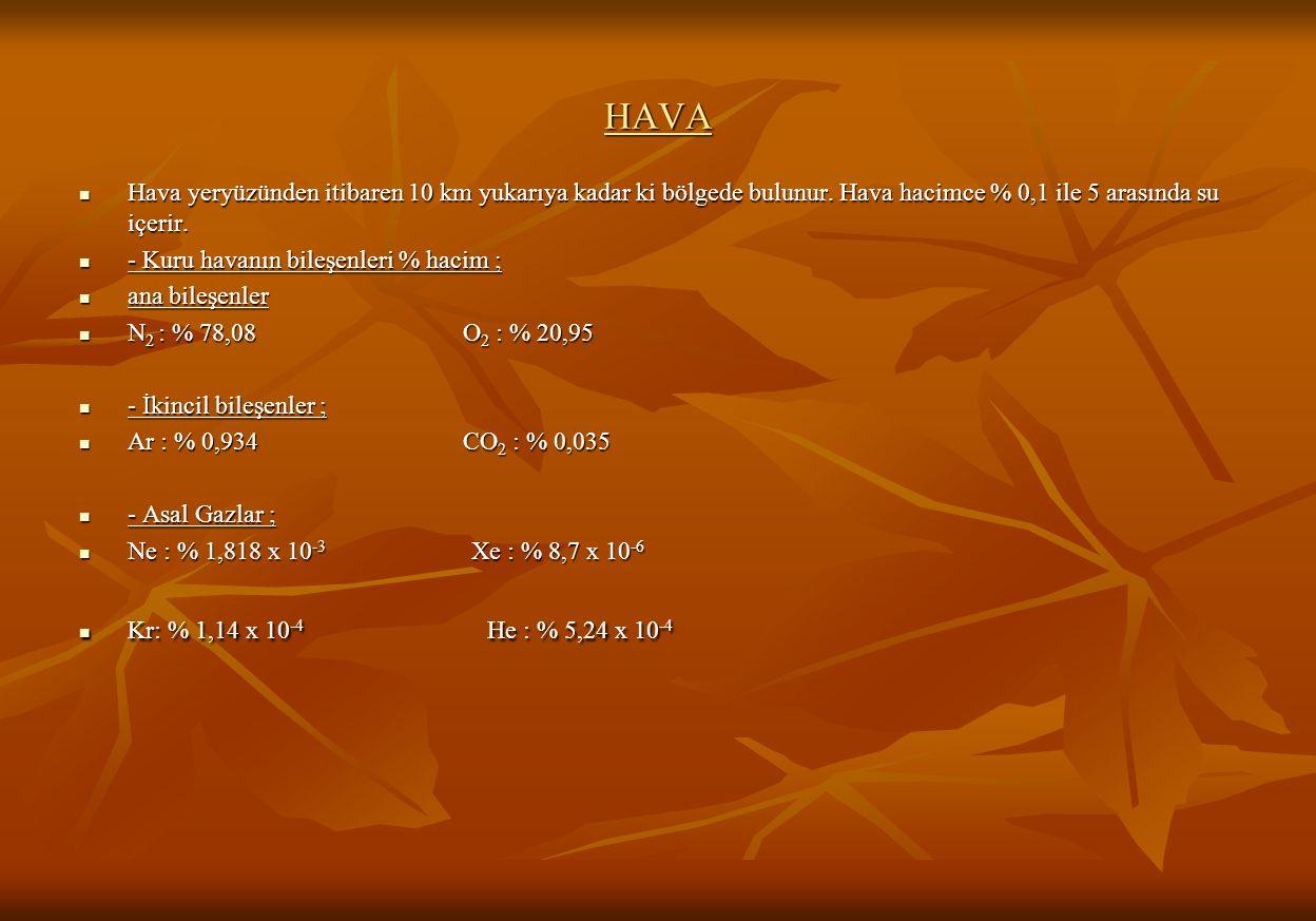 HAVA Hava yeryüzünden itibaren 10 km yukarıya kadar ki bölgede bulunur.