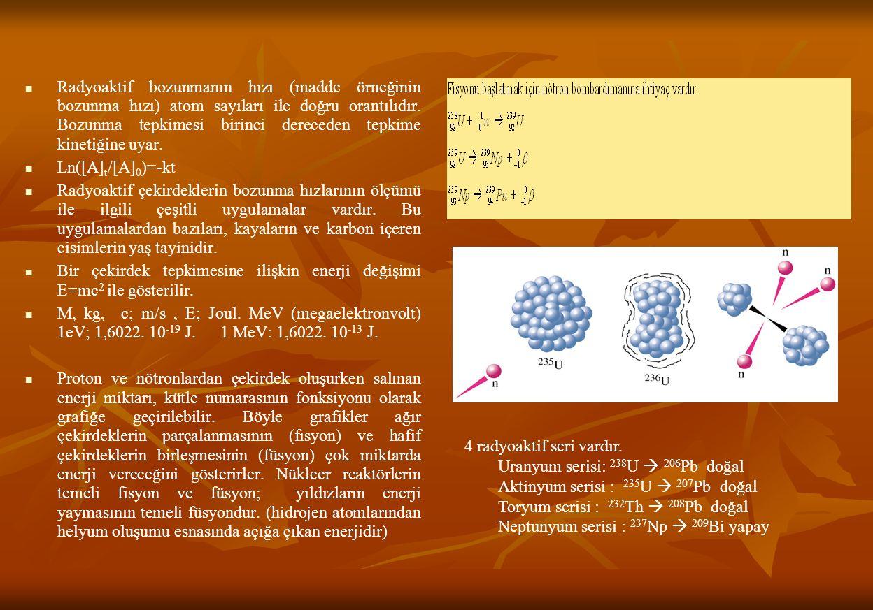 Radyoaktif bozunmanın hızı (madde örneğinin bozunma hızı) atom sayıları ile doğru orantılıdır.