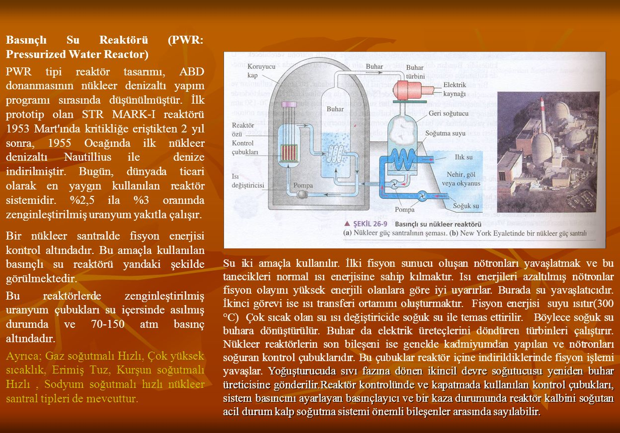 Basınçlı Su Reaktörü (PWR: Pressurized Water Reactor) PWR tipi reaktör tasarımı, ABD donanmasının nükleer denizaltı yapım programı sırasında düşünülmüştür.