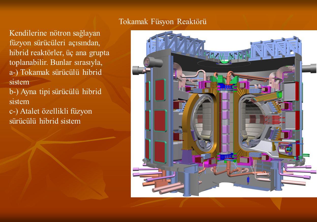 Tokamak Füsyon Reaktörü Kendilerine nötron sağlayan füzyon sürücüleri açısından, hibrid reaktörler, üç ana grupta toplanabilir.