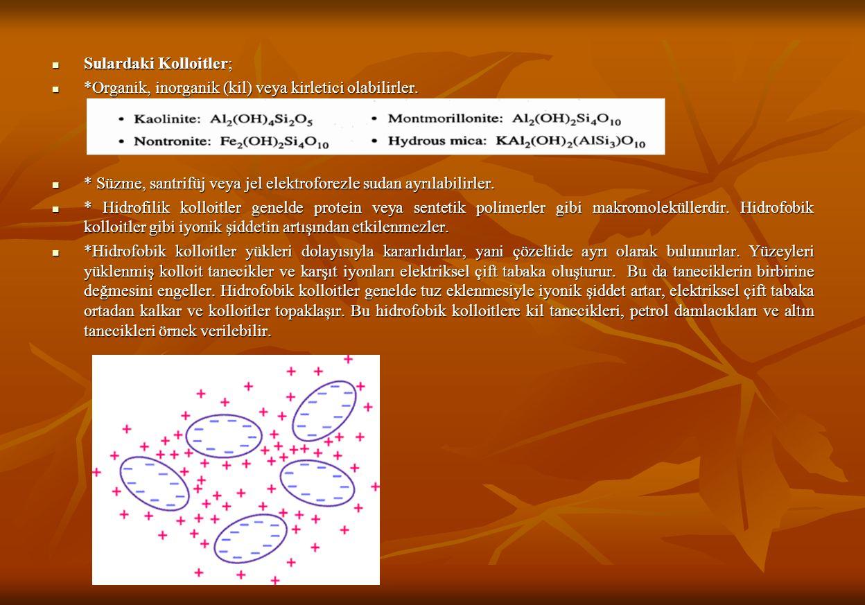 Sulardaki Kolloitler; Sulardaki Kolloitler; *Organik, inorganik (kil) veya kirletici olabilirler.