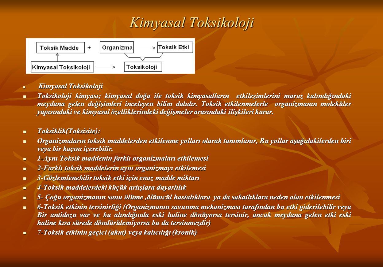 Kimyasal Toksikoloji Kimyasal Toksikoloji Kimyasal Toksikoloji Toksikoloji kimyası; kimyasal doğa ile toksik kimyasalların etkileşimlerini maruz kalındığındaki meydana gelen değişimleri inceleyen bilim dalıdır.