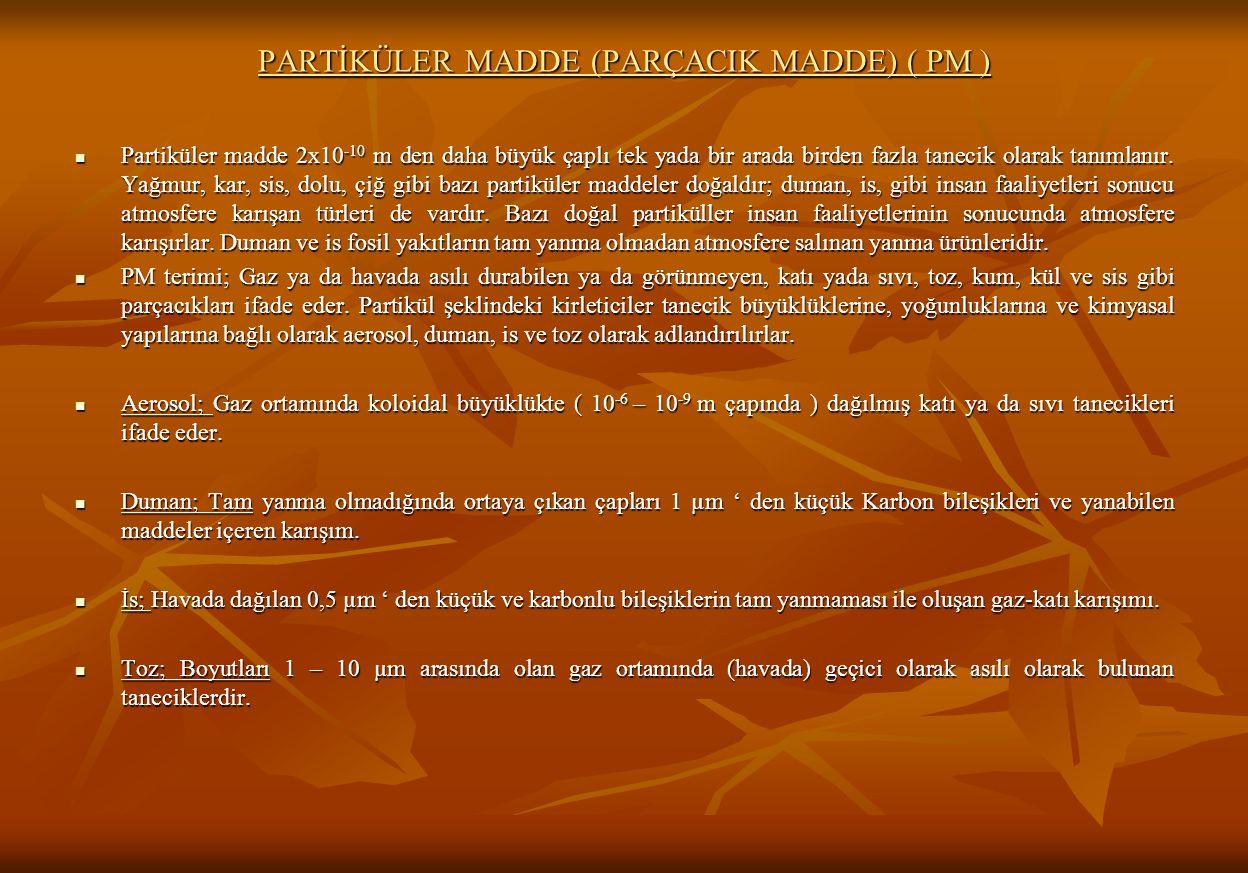 PARTİKÜLER MADDE (PARÇACIK MADDE) ( PM ) Partiküler madde 2x10 -10 m den daha büyük çaplı tek yada bir arada birden fazla tanecik olarak tanımlanır.
