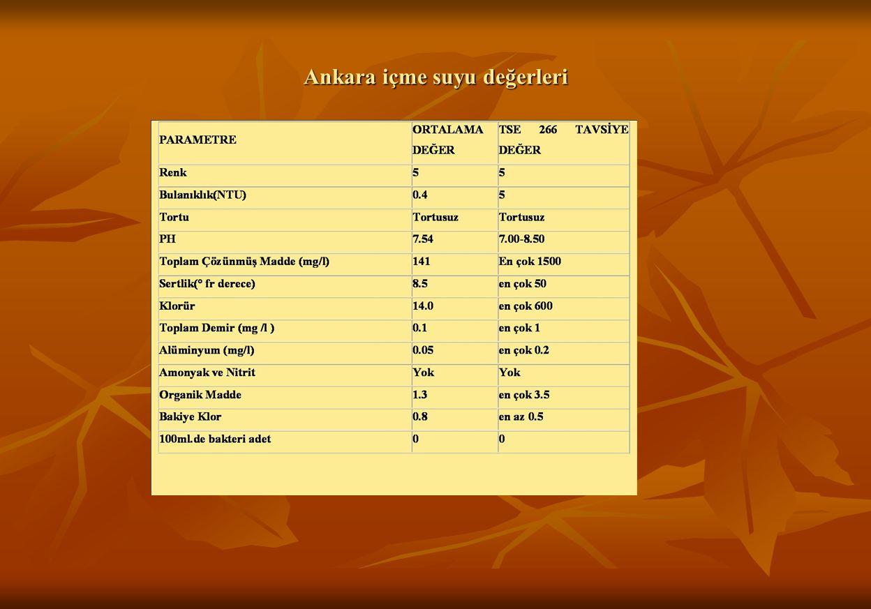 Ankara içme suyu değerleri