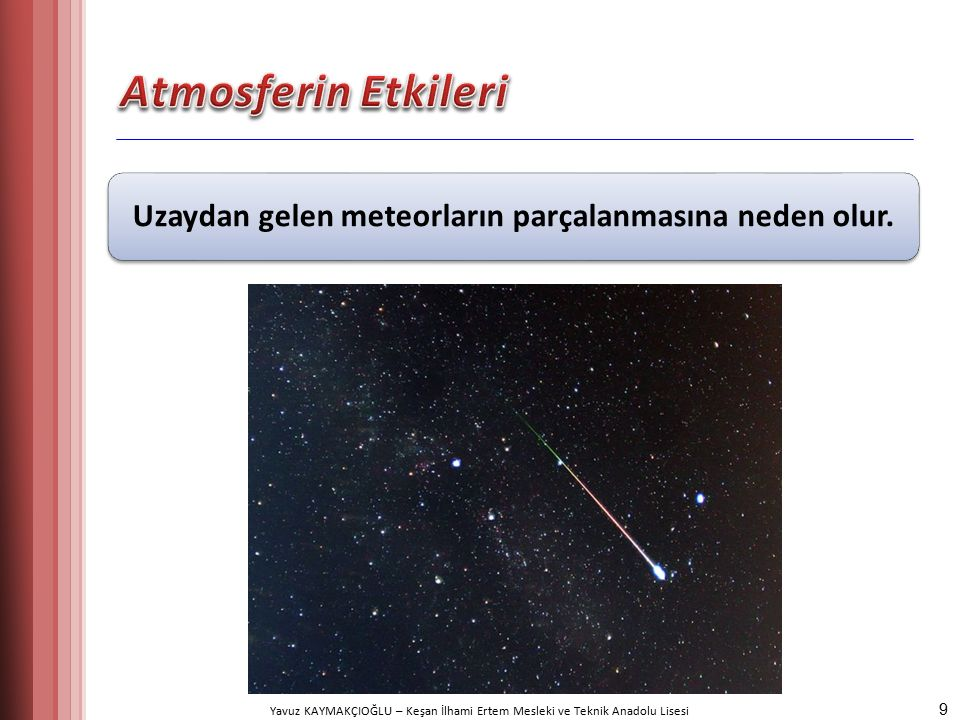 Yavuz KAYMAKÇIOĞLU – Keşan İlhami Ertem Mesleki ve Teknik Anadolu Lisesi Uzaydan gelen meteorların parçalanmasına neden olur.