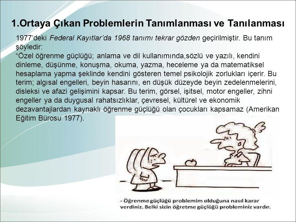 1.Ortaya Çıkan Problemlerin Tanımlanması ve Tanılanması 1977'deki Federal Kayıtlar'da 1968 tanımı tekrar gözden geçirilmiştir.