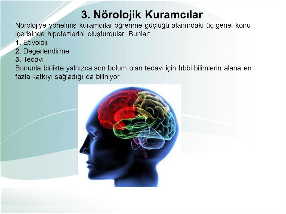 3. Nörolojik Kuramcılar Nörolojiye yönelmiş kuramcılar öğrenme güçlüğü alanındaki üç genel konu içerisinde hipotezlerini oluşturdular. Bunlar: 1. Etiy