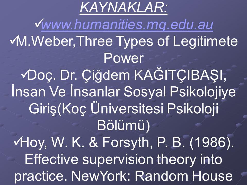 KAYNAKLAR: www.humanities.mq.edu.au M.Weber,Three Types of Legitimete Power Doç. Dr. Çiğdem KAĞITÇIBAŞI, İnsan Ve İnsanlar Sosyal Psikolojiye Giriş(Ko