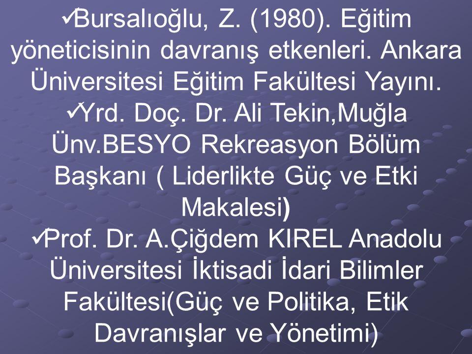 Bursalıoğlu, Z. (1980). Eğitim yöneticisinin davranış etkenleri. Ankara Üniversitesi Eğitim Fakültesi Yayını. Yrd. Doç. Dr. Ali Tekin,Muğla Ünv.BESYO