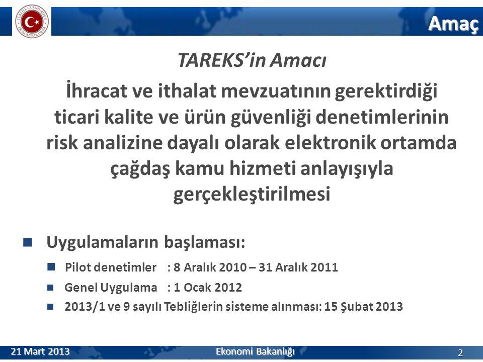 TAREKS'in Amacı İhracat ve ithalat mevzuatının gerektirdiği ticari kalite ve ürün güvenliği denetimlerinin risk analizine dayalı olarak elektronik ortamda çağdaş kamu hizmeti anlayışıyla gerçekleştirilmesi Uygulamaların başlaması: Pilot denetimler: 8 Aralık 2010 – 31 Aralık 2011 Genel Uygulama: 1 Ocak 2012 2013/1 ve 9 sayılı Tebliğlerin sisteme alınması: 15 Şubat 2013 Amaç 2 21 Mart 2013 Ekonomi Bakanlığı