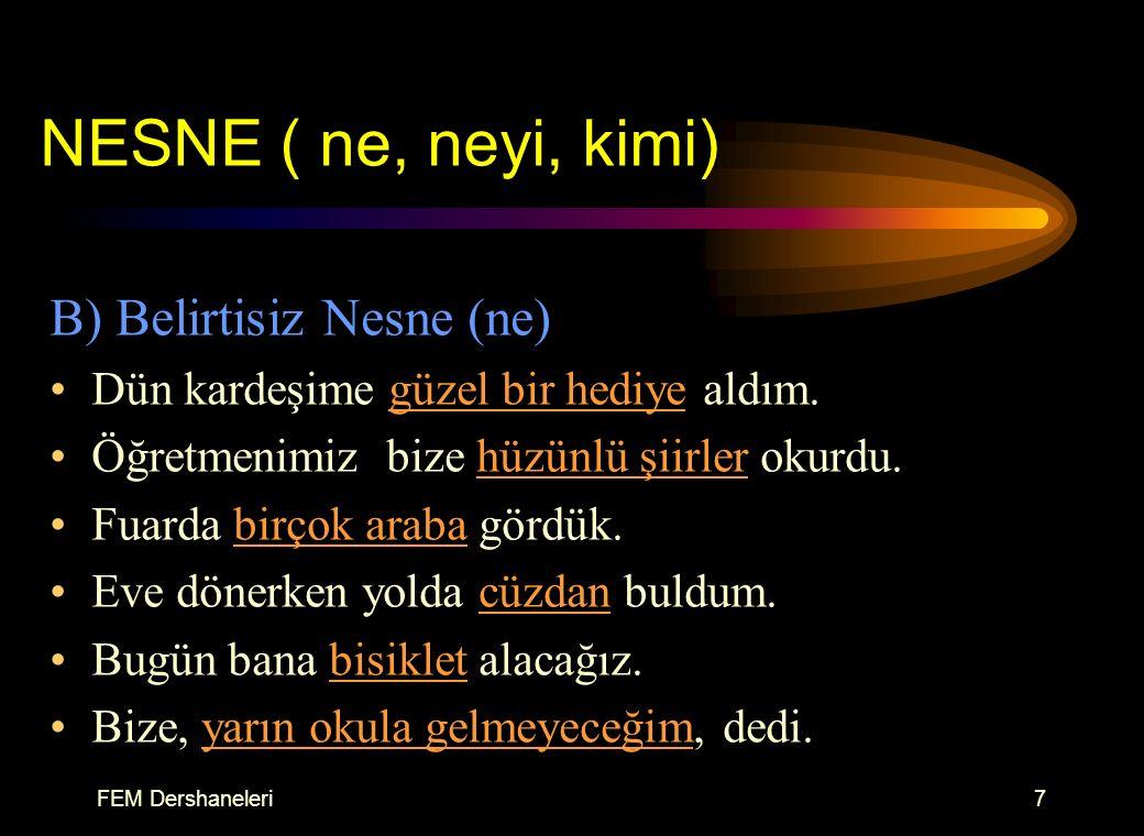 FEM Dershaneleri6 NESNE ( ne, neyi, kimi) A) Belirtili Nesne (neyi, kimi) İstanbul'u dinliyorum gözlerim kapalı. Kapıyı, pencereyi ardına kadar açtı.