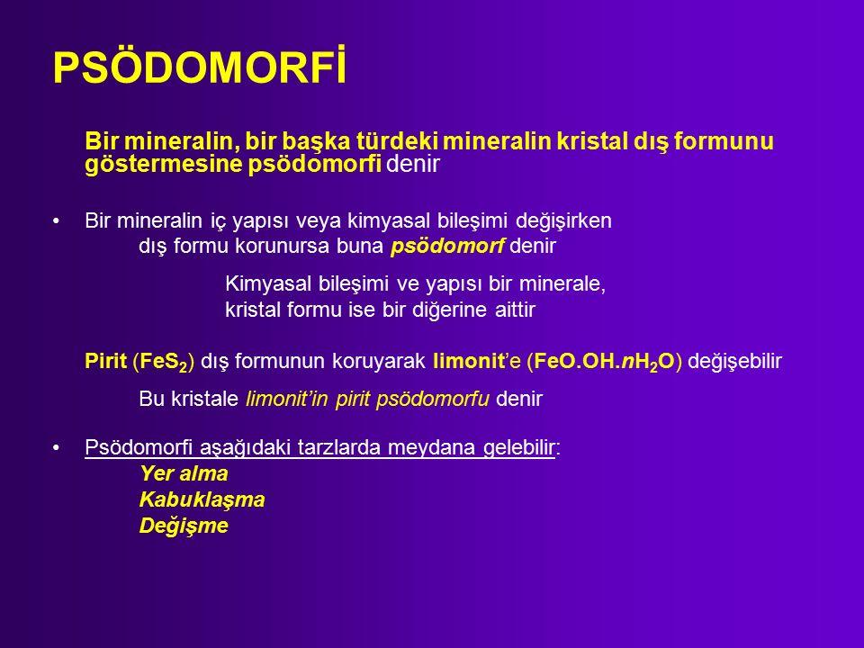 PSÖDOMORFİ Bir mineralin, bir başka türdeki mineralin kristal dış formunu göstermesine psödomorfi denir Bir mineralin iç yapısı veya kimyasal bileşimi değişirken dış formu korunursa buna psödomorf denir Kimyasal bileşimi ve yapısı bir minerale, kristal formu ise bir diğerine aittir Pirit (FeS 2 ) dış formunun koruyarak limonit'e (FeO.OH.nH 2 O) değişebilir Bu kristale limonit'in pirit psödomorfu denir Psödomorfi aşağıdaki tarzlarda meydana gelebilir: Yer alma Kabuklaşma Değişme