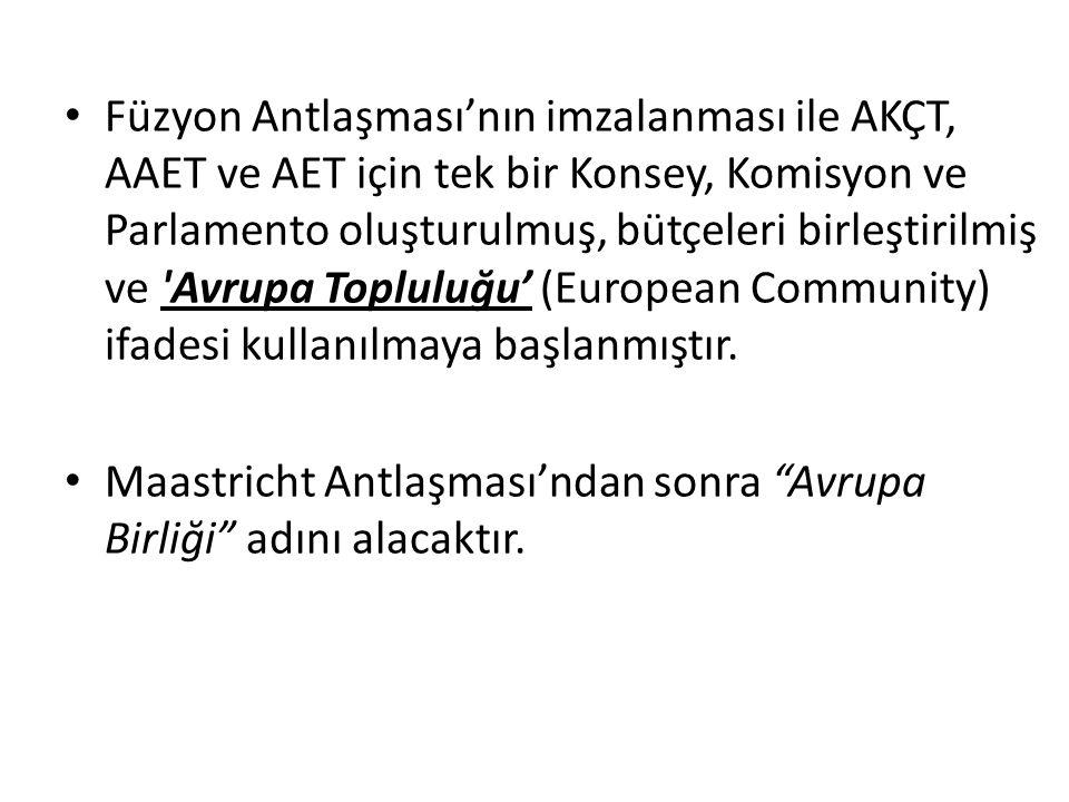 Füzyon Antlaşması'nın imzalanması ile AKÇT, AAET ve AET için tek bir Konsey, Komisyon ve Parlamento oluşturulmuş, bütçeleri birleştirilmiş ve Avrupa Topluluğu' (European Community) ifadesi kullanılmaya başlanmıştır.