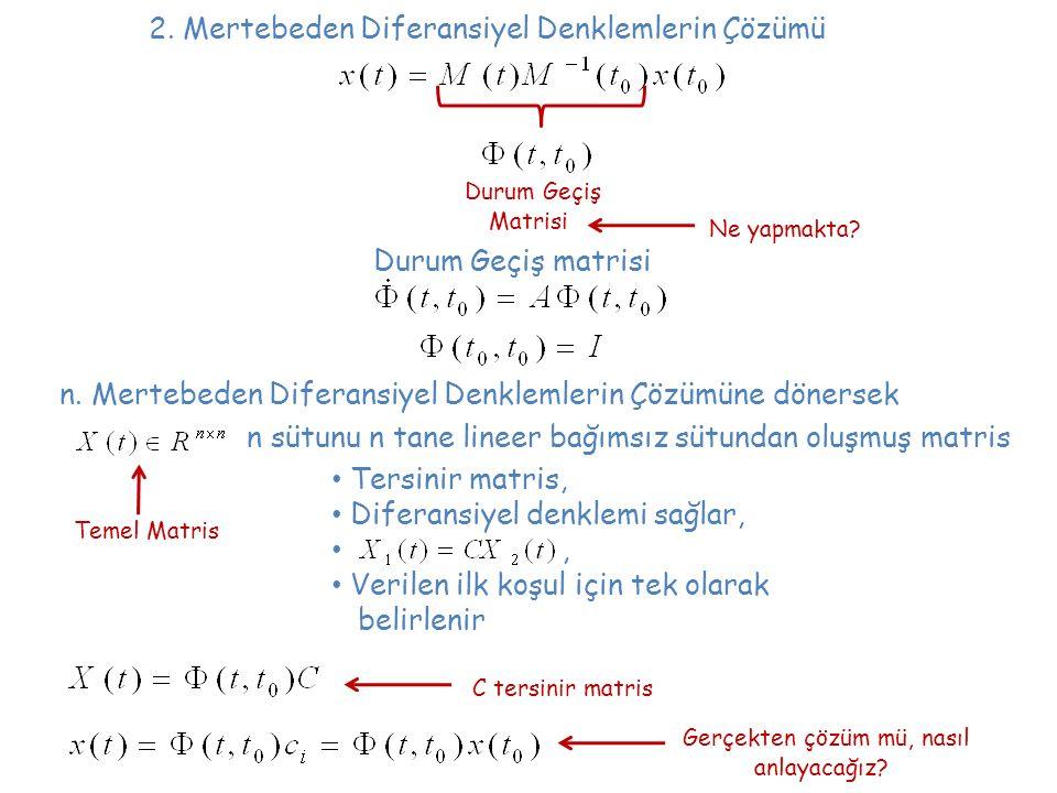 2. Mertebeden Diferansiyel Denklemlerin Çözümü Durum Geçiş Matrisi Ne yapmakta? n. Mertebeden Diferansiyel Denklemlerin Çözümüne dönersek Durum Geçiş