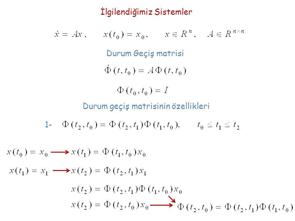 Durum geçiş matrisinin özellikleri Durum Geçiş matrisi İlgilendiğimiz Sistemler 1-
