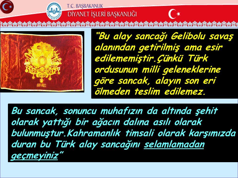 Bu alay sancağı Gelibolu savaş alanından getirilmiş ama esir edilememiştir.Çünkü Türk ordusunun milli geleneklerine göre sancak, alayın son eri ölmeden teslim edilemez.