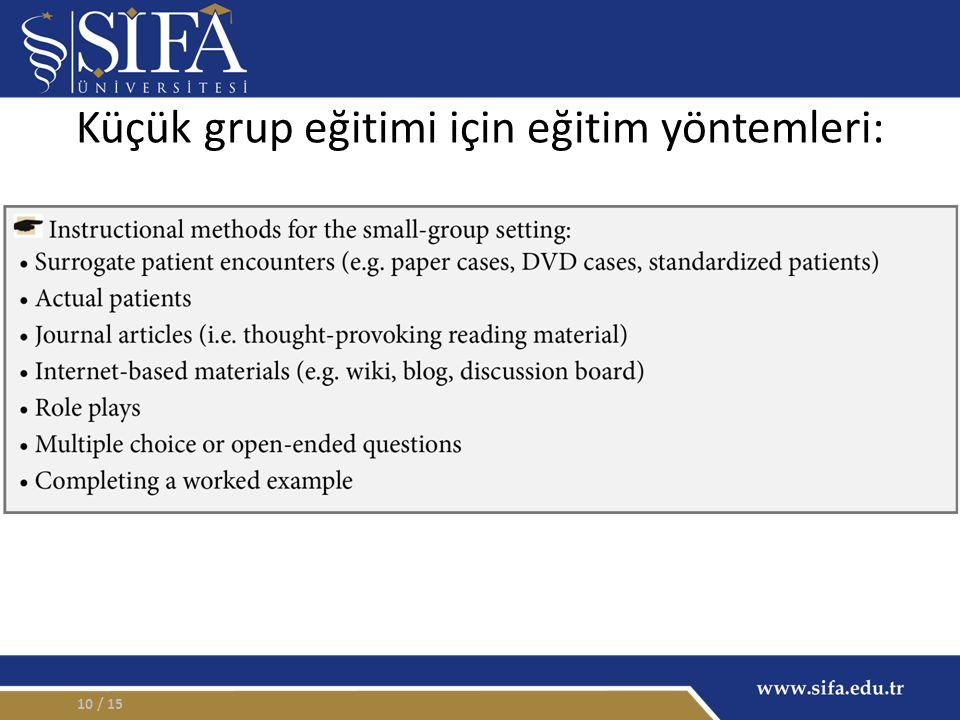 / 1510 Küçük grup eğitimi için eğitim yöntemleri: