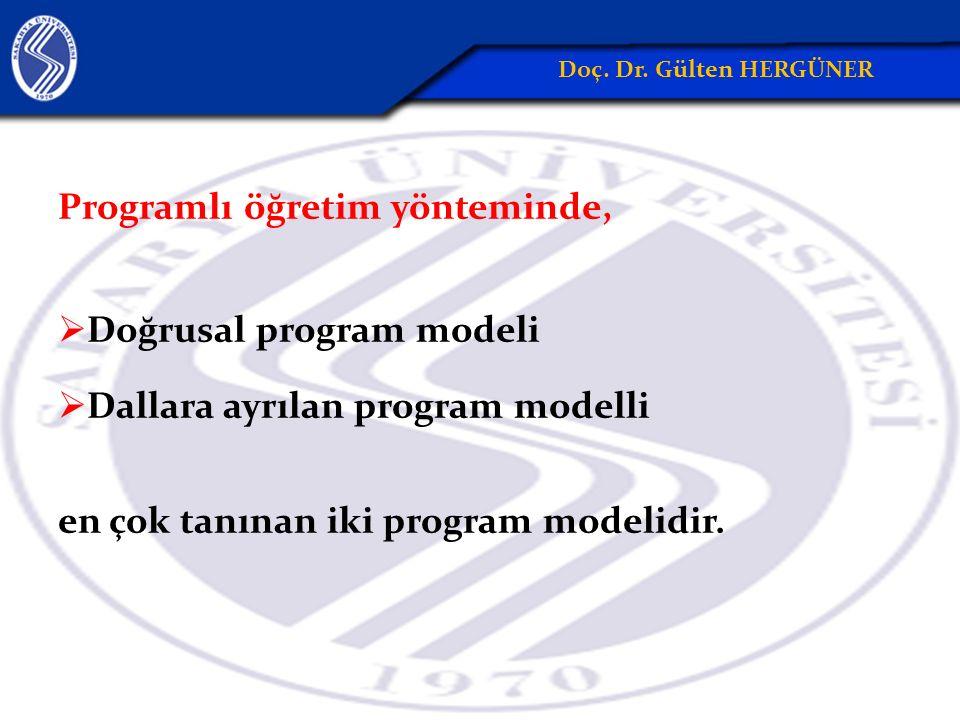 Programlı öğretim yönteminde,  Doğrusal program modeli  Dallara ayrılan program modelli en çok tanınan iki program modelidir.