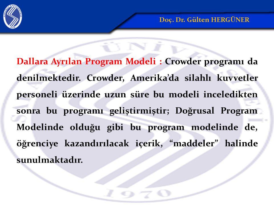 Dallara Ayrılan Program Modeli : Crowder programı da denilmektedir.