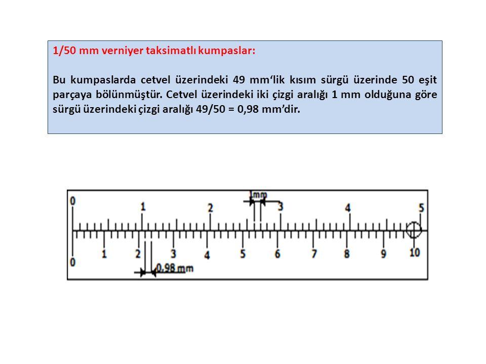 1/50 mm verniyer taksimatlı kumpaslar: Bu kumpaslarda cetvel üzerindeki 49 mm'lik kısım sürgü üzerinde 50 eşit parçaya bölünmüştür.