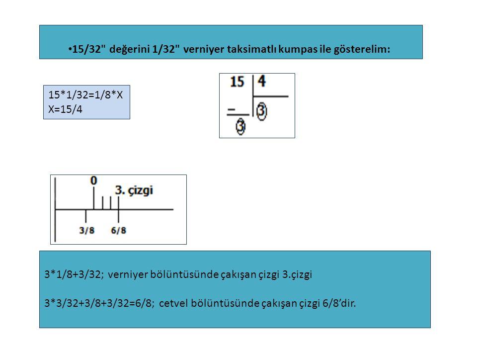 15/32 değerini 1/32 verniyer taksimatlı kumpas ile gösterelim: 15*1/32=1/8*X X=15/4 3*1/8+3/32; verniyer bölüntüsünde çakışan çizgi 3.çizgi 3*3/32+3/8+3/32=6/8; cetvel bölüntüsünde çakışan çizgi 6/8'dir.