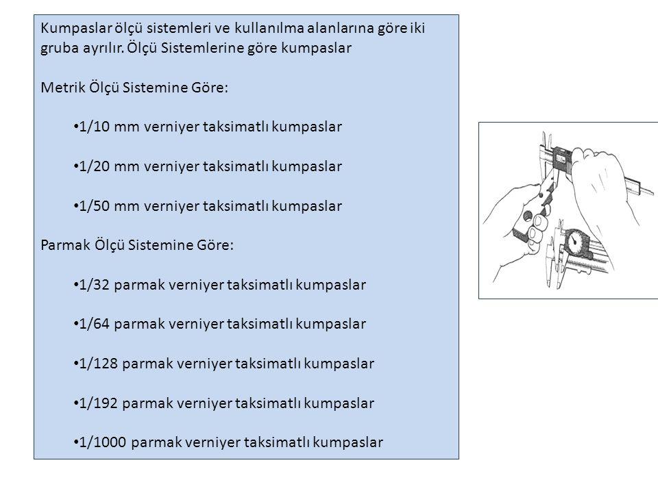 Kullanım Alanlarına göre Kumpaslar: Dış Çap Kumpasları Derinlik Kumpasları Özel Kumpaslar Modül Kumpasları
