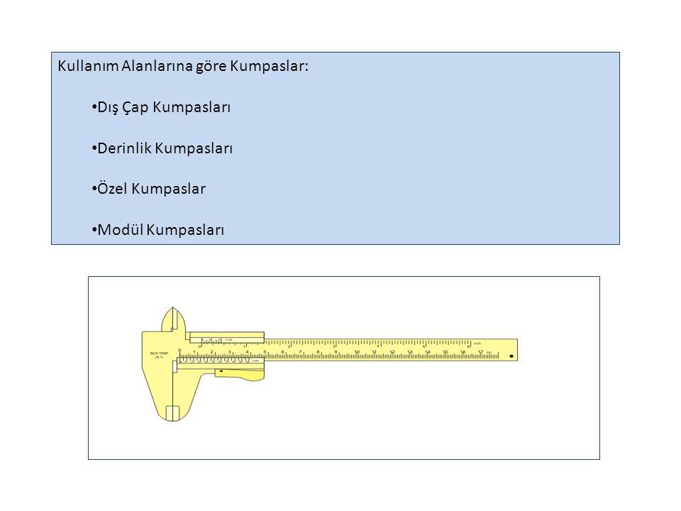 Ölçü Sistemlerine göre kumpaslar : Metrik Ölçü Sistemine Göre ; 1/10 mm verniyer taksimatlı kumpaslar: Bu kumpaslarda cetvel üzerindeki 9 mm'lik kısım verniyer üzerinde 10 eşit parçaya bölünmüştür.
