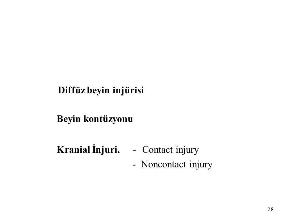 28 Diffüz beyin injürisi Beyin kontüzyonu Kranial İnjuri, - Contact injury - Noncontact injury