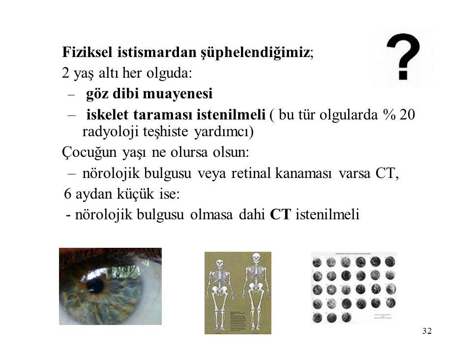 32 Fiziksel istismardan şüphelendiğimiz; 2 yaş altı her olguda: – göz dibi muayenesi – iskelet taraması istenilmeli ( bu tür olgularda % 20 radyoloji teşhiste yardımcı) Çocuğun yaşı ne olursa olsun: –nörolojik bulgusu veya retinal kanaması varsa CT, 6 aydan küçük ise: - nörolojik bulgusu olmasa dahi CT istenilmeli