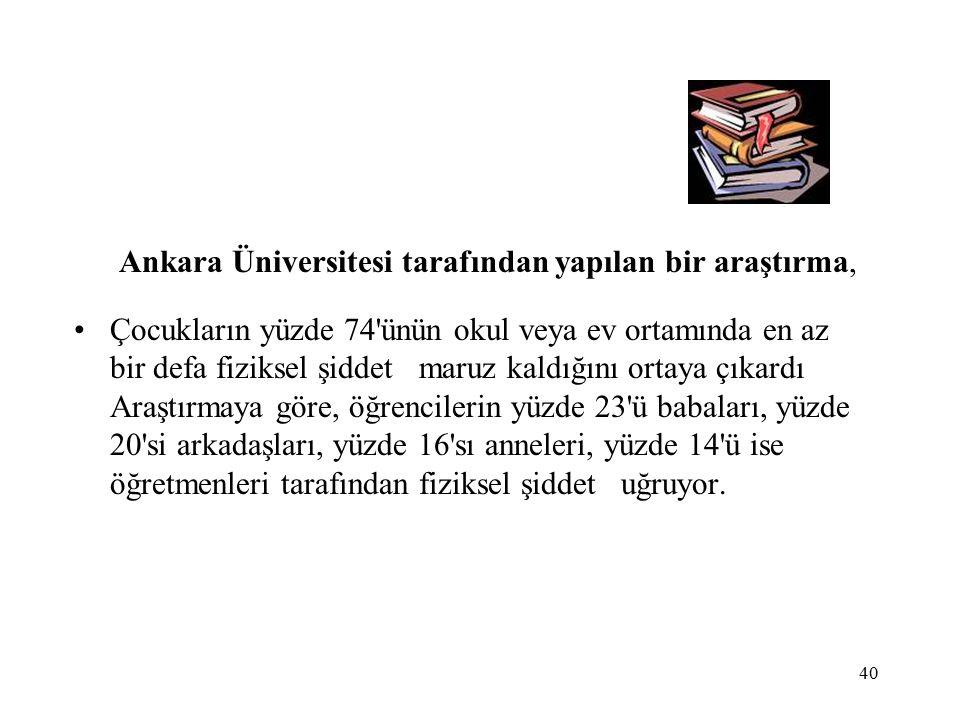 40 Ankara Üniversitesi tarafından yapılan bir araştırma, Çocukların yüzde 74 ünün okul veya ev ortamında en az bir defa fiziksel şiddet maruz kaldığını ortaya çıkardı Araştırmaya göre, öğrencilerin yüzde 23 ü babaları, yüzde 20 si arkadaşları, yüzde 16 sı anneleri, yüzde 14 ü ise öğretmenleri tarafından fiziksel şiddet uğruyor.