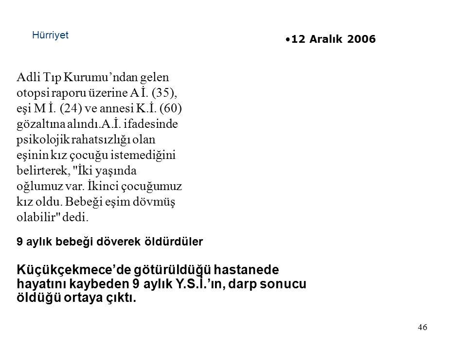 46 Adli Tıp Kurumu'ndan gelen otopsi raporu üzerine A İ.