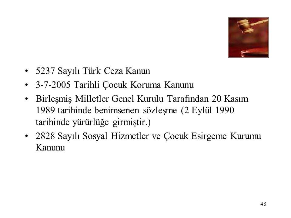 48 5237 Sayılı Türk Ceza Kanun 3-7-2005 Tarihli Çocuk Koruma Kanunu Birleşmiş Milletler Genel Kurulu Tarafından 20 Kasım 1989 tarihinde benimsenen sözleşme (2 Eylül 1990 tarihinde yürürlüğe girmiştir.) 2828 Sayılı Sosyal Hizmetler ve Çocuk Esirgeme Kurumu Kanunu
