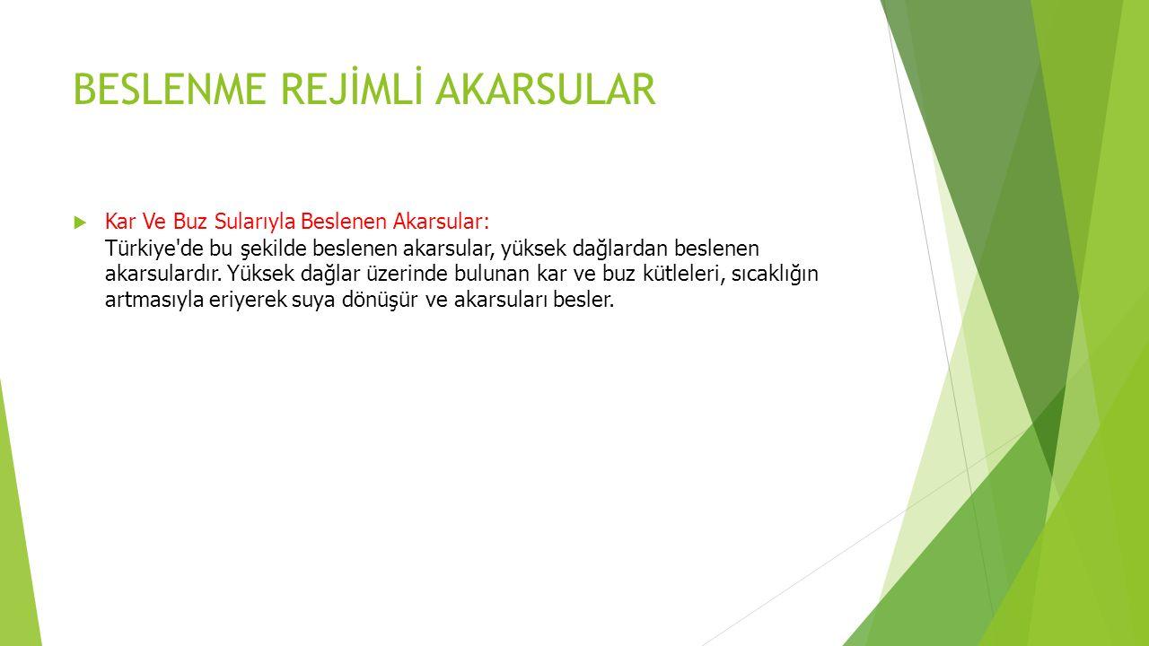 BESLENME REJİMLİ AKARSULAR  Kar Ve Buz Sularıyla Beslenen Akarsular: Türkiye de bu şekilde beslenen akarsular, yüksek dağlardan beslenen akarsulardır.