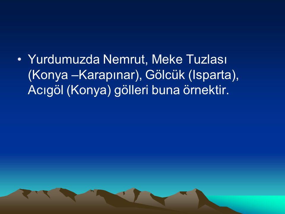 Yurdumuzda Nemrut, Meke Tuzlası (Konya –Karapınar), Gölcük (Isparta), Acıgöl (Konya) gölleri buna örnektir.