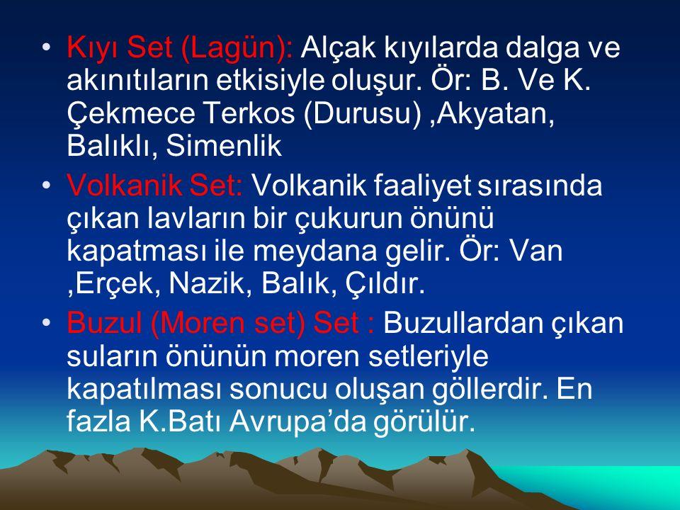 Kıyı Set (Lagün): Alçak kıyılarda dalga ve akınıtıların etkisiyle oluşur. Ör: B. Ve K. Çekmece Terkos (Durusu),Akyatan, Balıklı, Simenlik Volkanik Set