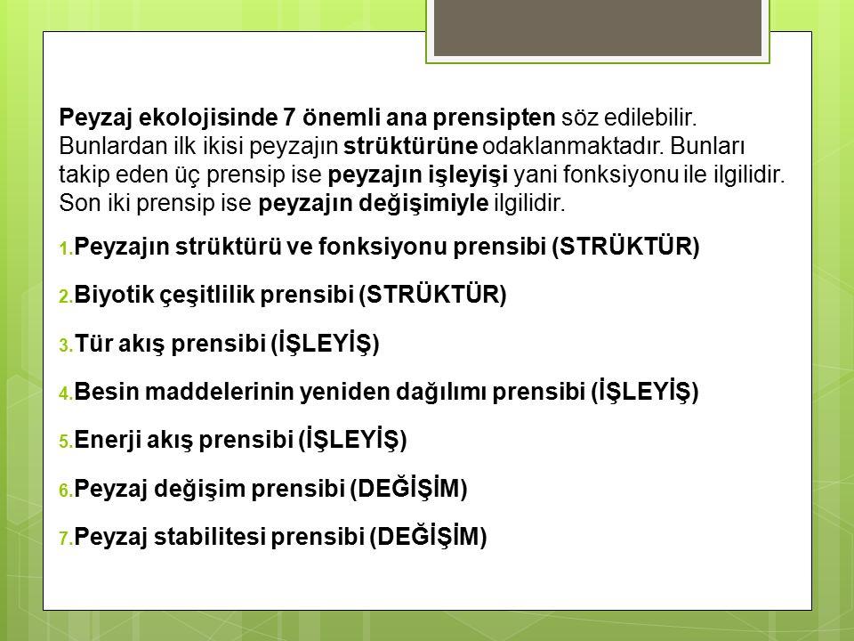 Peyzaj ekolojisinde 7 önemli ana prensipten söz edilebilir.