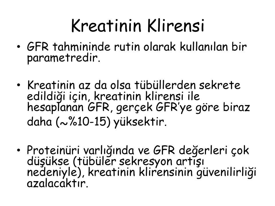 Kreatinin Klirensi GFR tahmininde rutin olarak kullanılan bir parametredir. Kreatinin az da olsa tübüllerden sekrete edildiği için, kreatinin klirensi
