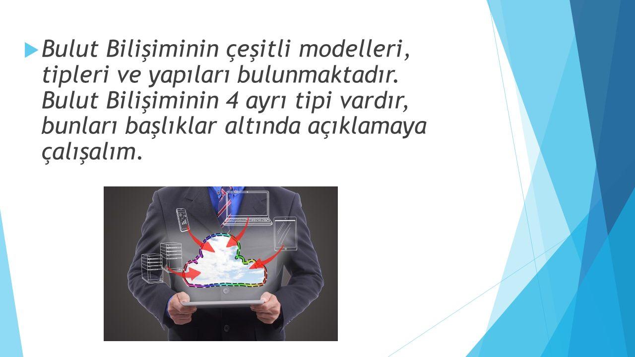  Bulut Bilişiminin çeşitli modelleri, tipleri ve yapıları bulunmaktadır. Bulut Bilişiminin 4 ayrı tipi vardır, bunları başlıklar altında açıklamaya ç