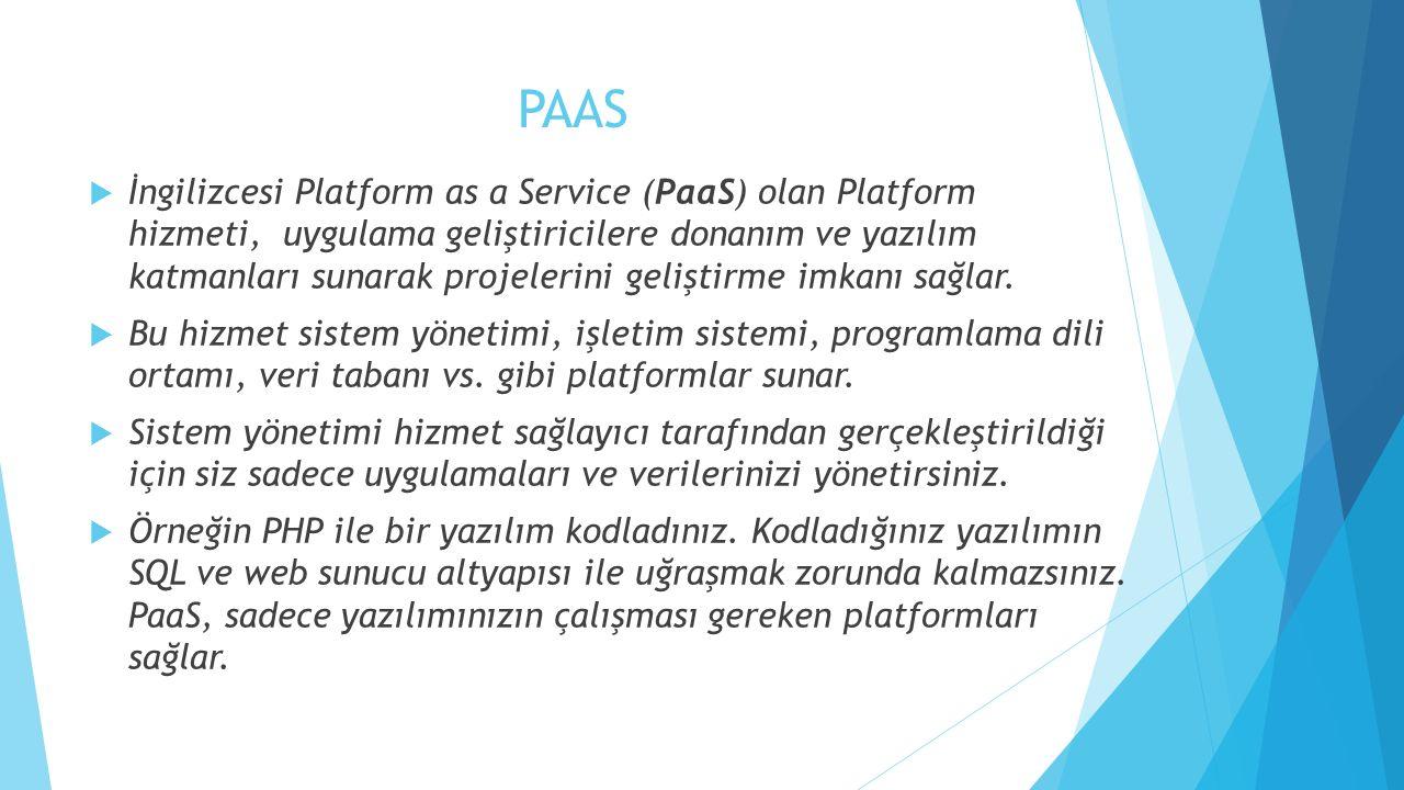 PAAS  İngilizcesi Platform as a Service (PaaS) olan Platform hizmeti, uygulama geliştiricilere donanım ve yazılım katmanları sunarak projelerini geliştirme imkanı sağlar.