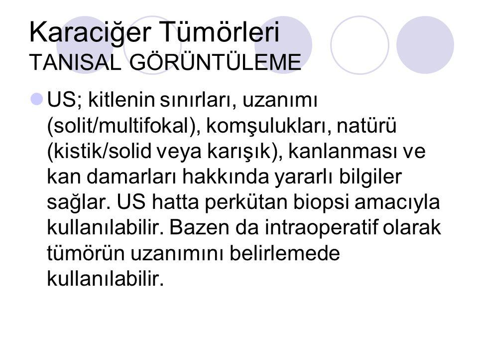 Karaciğer Tümörleri TANISAL GÖRÜNTÜLEME US; kitlenin sınırları, uzanımı (solit/multifokal), komşulukları, natürü (kistik/solid veya karışık), kanlanma