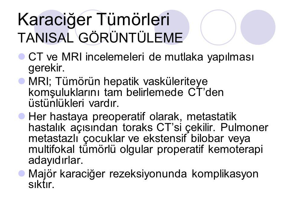 Karaciğer Tümörleri TANISAL GÖRÜNTÜLEME CT ve MRI incelemeleri de mutlaka yapılması gerekir. MRI; Tümörün hepatik vasküleriteye komşuluklarını tam bel