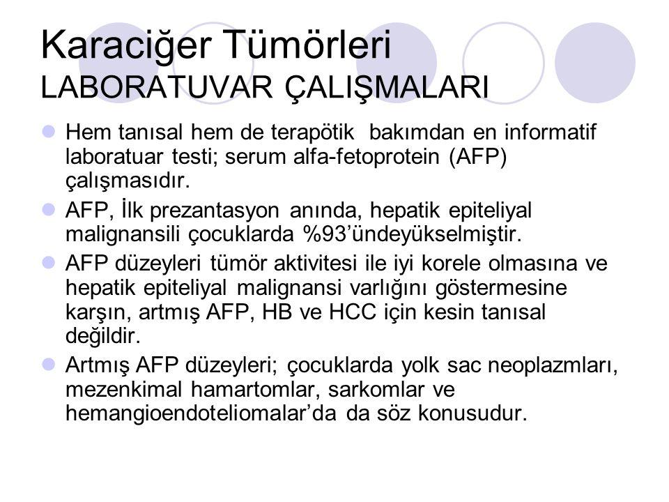 Karaciğer Tümörleri LABORATUVAR ÇALIŞMALARI Hem tanısal hem de terapötik bakımdan en informatif laboratuar testi; serum alfa-fetoprotein (AFP) çalışma